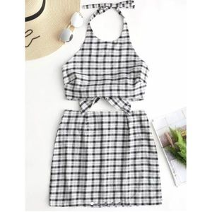 Other - BRAND NEW plaid black and white set